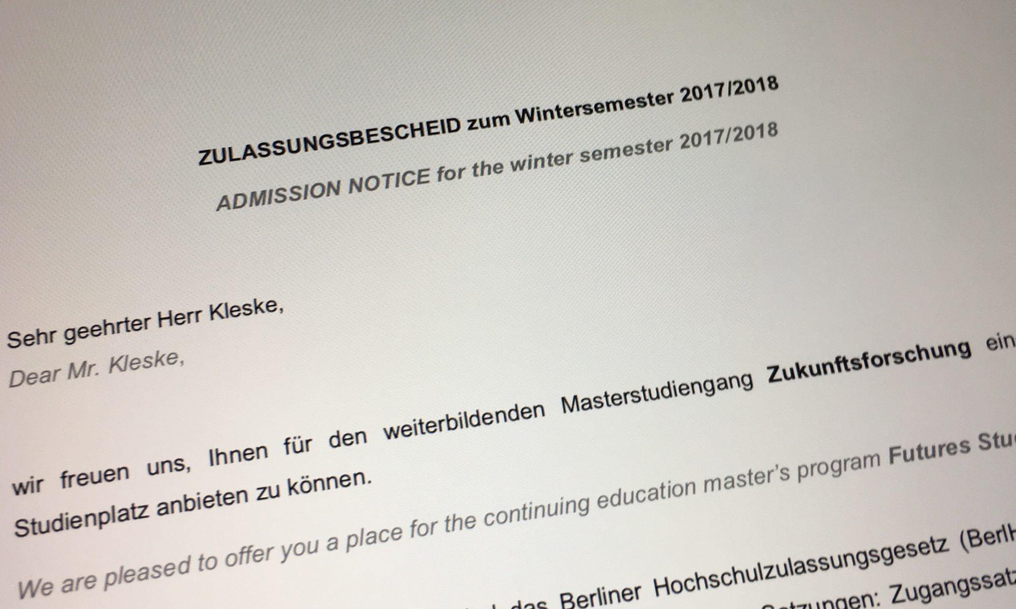 zulassungsbescheid master zukunftsforschung